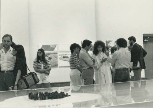 Jeanne-Claude with guests at Documentation Exhibition